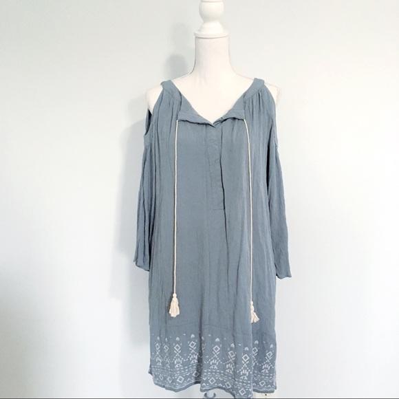 Knox Rose Dresses & Skirts - Knox Rose Cold Shoulder Embroidered Boho Dress